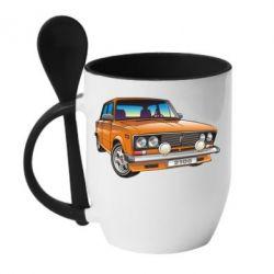 Кружка с керамической ложкой A car