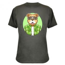Камуфляжна футболка A dog with glasses and a shirt