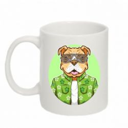 Кружка 320ml A dog with glasses and a shirt