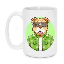 Кружка 420ml A dog with glasses and a shirt