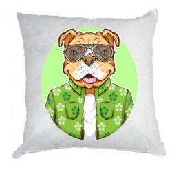 Подушка A dog with glasses and a shirt