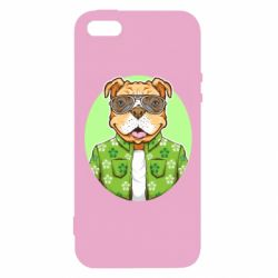 Чохол для iphone 5/5S/SE A dog with glasses and a shirt