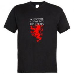 Мужская футболка  с V-образным вырезом A Lannister always pays his debts - FatLine