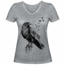 Жіноча футболка з V-подібним вирізом A pack of ravens