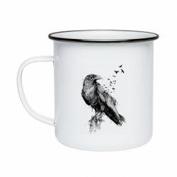 Кружка емальована A pack of ravens