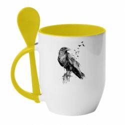 Кружка з керамічною ложкою A pack of ravens