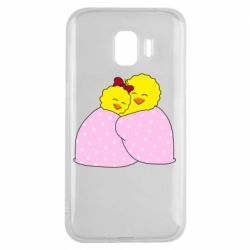 Чехол для Samsung J2 2018 A pair of chickens and a blanket