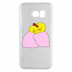 Чехол для Samsung S6 EDGE A pair of chickens and a blanket