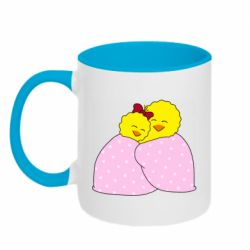Кружка двухцветная 320ml A pair of chickens and a blanket