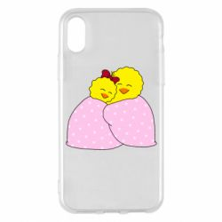 Чехол для iPhone X/Xs A pair of chickens and a blanket