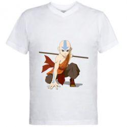 Мужская футболка  с V-образным вырезом Аанг