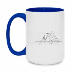 Кружка двоколірна 420ml Abstraction of mountains drawn by lines