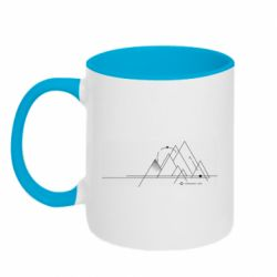 Кружка двоколірна 320ml Abstraction of mountains drawn by lines