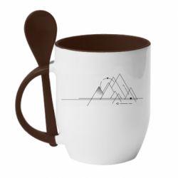 Кружка з керамічною ложкою Abstraction of mountains drawn by lines