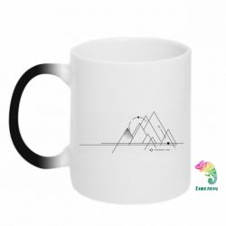 Кружка-хамелеон Abstraction of mountains drawn by lines