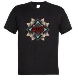 Мужская футболка  с V-образным вырезом AC/DC Art Logo - FatLine
