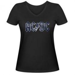 Женская футболка с V-образным вырезом AC/DC Logo - FatLine
