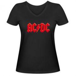 Женская футболка с V-образным вырезом AC/DC Red Logo - FatLine