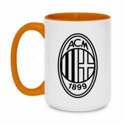 Кружка двоколірна 420ml AC Milan logo