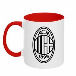 Кружка двоколірна 320ml AC Milan logo