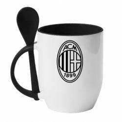 Кружка з керамічною ложкою AC Milan logo