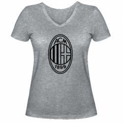 Жіноча футболка з V-подібним вирізом AC Milan logo