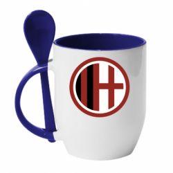 Кружка з керамічною ложкою AC Milan