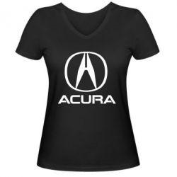 Жіноча футболка з V-подібним вирізом Acura logo 2