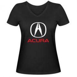 Женская футболка с V-образным вырезом Acura - FatLine