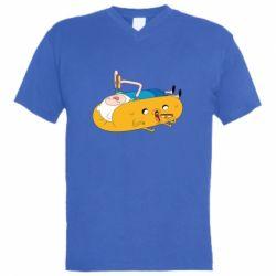 Мужская футболка  с V-образным вырезом Adventure time 4