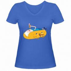 Женская футболка с V-образным вырезом Adventure time 4