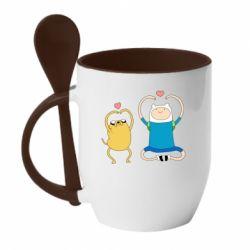 Кружка з керамічною ложкою Adventure time
