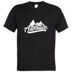 Мужская футболка  с V-образным вырезом Adventures and mountains
