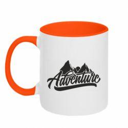Кружка двухцветная 320ml Adventures and mountains