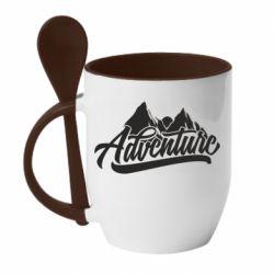 Кружка с керамической ложкой Adventures and mountains