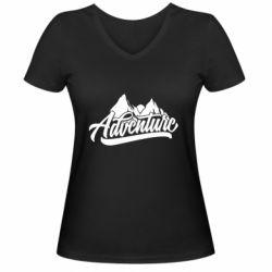Женская футболка с V-образным вырезом Adventures and mountains
