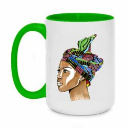 Кружка двоколірна 420ml African girl in a color scarf