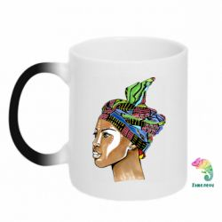 Кружка-хамелеон African girl in a color scarf
