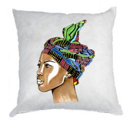 Подушка African girl in a color scarf