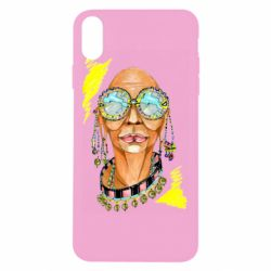 Чехол для iPhone Xs Max African hippie woman in blue glasses