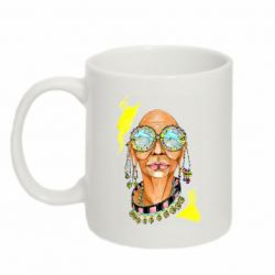 Кружка 320ml African hippie woman in blue glasses