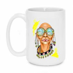 Кружка 420ml African hippie woman in blue glasses