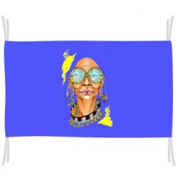 Флаг African hippie woman in blue glasses
