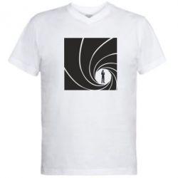 Мужская футболка  с V-образным вырезом Agent 007 - FatLine