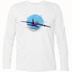 Футболка с длинным рукавом Airplane and sky