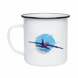 Кружка эмалированная Airplane and sky