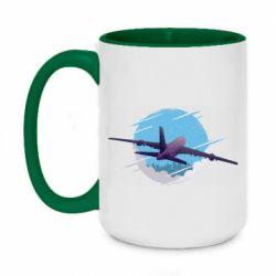 Кружка двухцветная 420ml Airplane and sky