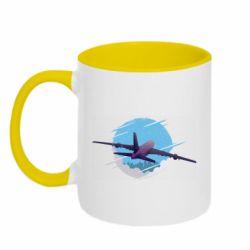 Кружка двухцветная 320ml Airplane and sky