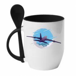Кружка с керамической ложкой Airplane and sky