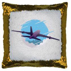 Подушка-хамелеон Airplane and sky